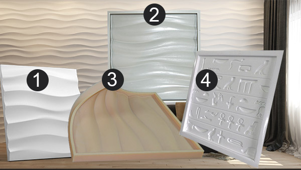 Plastic mold for gypsum and concrete 3D Panel Form for making plaster decor 3D panel plastic mold 3D mould for decorative wall panels OL